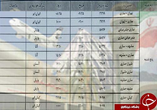 پرواز های پنجشنبه 14 آذرماه فرودگاه های مازندران