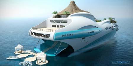 جزیره بهشتی در عرشه یک کشتی